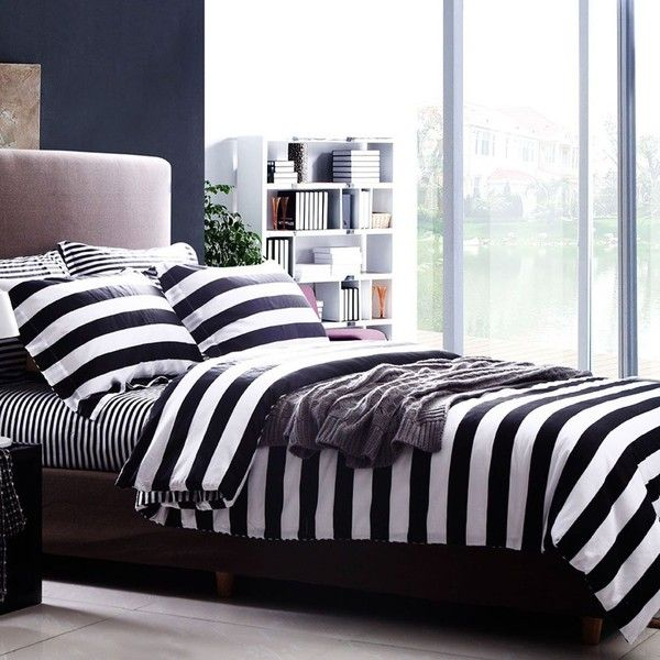 Amazon.com: SAYM Home Bedding Sets 3D Effect Black White Stripe Print... ($158) ❤ liked on Polyvore featuring home, bed & bath, bedding, comforters, black king comforter set, king size comforters, king duvet cover sets, black comforter set and king size duvet cover sets