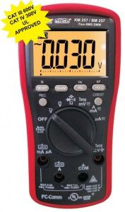 KM 255-KM 257 COUNTS DIGITAL MULTIMETER WITH EF-DETECTION & PC INTERFACE • Autocheck V & W • 24 Segments Analog Bar-graph • EF-Detection (NCV) • Crest Mode (Peak Hold), Data Hold function • Backlight LCD Display • Autoranging Relative Zero Mode • Auto-ranging MAX/MIN record • Auto Power Off • Low Battery Indication • PC interface (optional)