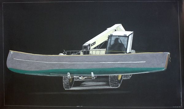 Tim Pitsiulak - Massive Move 43 x 69 Chalk Pastel on paper