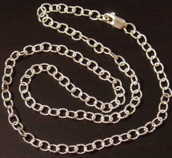 Sterling Silver twisted Oval Cable Chain 18inches by yadanabeads, $24.50