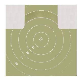 """No name Мишень № 4 грудная фигура  — 18 руб.  —  Мишень № 4 (грудная фигура) общевойскового образца предназначена для выполнения штатных упражнений одиночной стрельбы из автомата, карабина, ручного пулемета с дистанции 100 метров, из пистолета - с дистанции 25 метров. Мишень представляет собой лист бумаги с силуэтом зеленого цвета на белом фоне, габаритным размером 50х50 см, с белыми окружностями. Диаметр """"десятки"""" - 100 мм, каждый последующий круг на 100 мм в диаметре больше предыдущего…"""