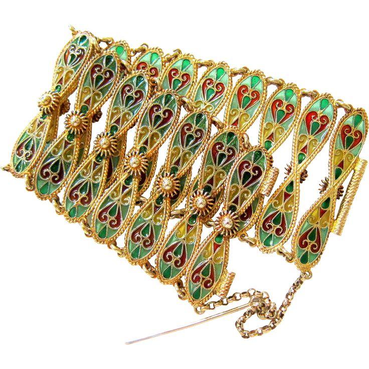 Antique Plique à Jour Sterling Gold Wash Enamel Bracelet Johan Gustav Kjaerland - Norway