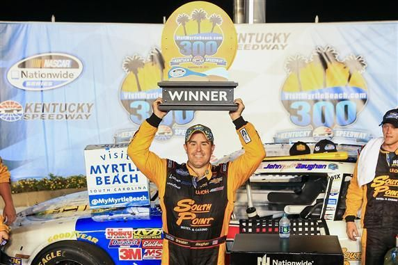 Brendan Gaughan capitalized on the opportunity to use the high line on the last restart of Saturday night's VisitMyrtleBeach.com 300 at Kentucky Speedway to win his second NASCAR Nationwide Series ...  http://fan4racing.com/2014/09/21/thrilling-restart-gives-brendan-gaughan-nationwide-win-at-kentucky/