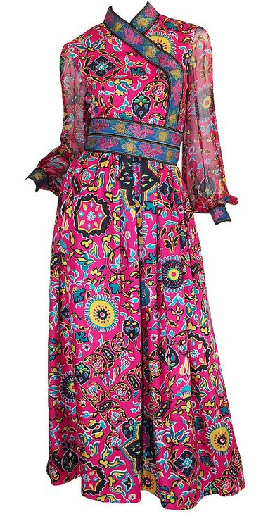 Dress Oscar de la Renta, 1960s vintage fashion designer couture pink floral sheer silk Asian Ethnic style
