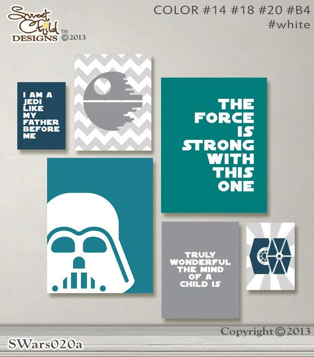 Baby Nursery Artwork Star Wars Baby Nursery Decor Sith Wall Art Darth Vader Artwork Print - Gallery Set - (2)11x14, (2)8x10, (2)5x7 Prints by SweetChildDesignsFL on Etsy https://www.etsy.com/listing/208982698/baby-nursery-artwork-star-wars-baby