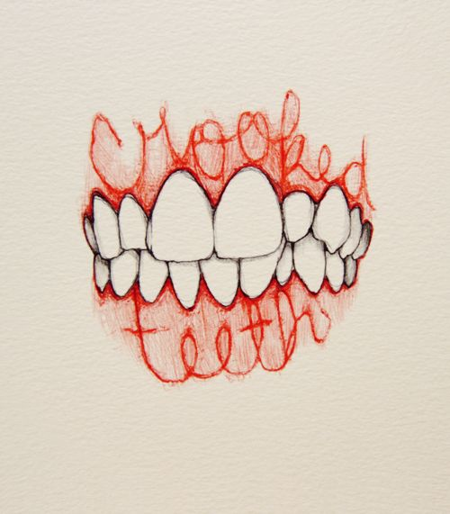 """Crooked teeth illustration --""""Whatif my teeth don't grow in straight?"""" This image would work for that cartoon bubble."""