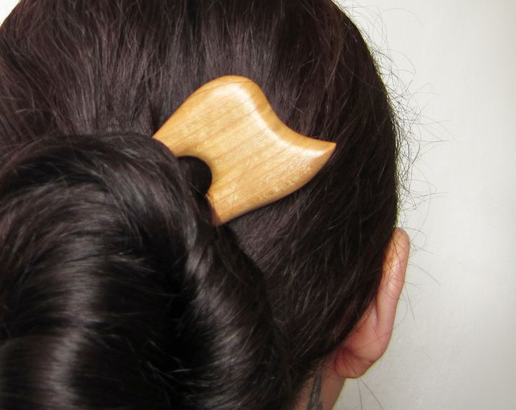 Hair Pins – Wooden Hair Fork From the Cherry Wood – a unique product by forevahairforks on DaWanda