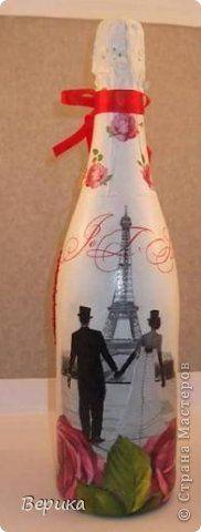 Декор предметов Валентинов день Декупаж День святого Валентина Бисер Бутылки стеклянные Салфетки фото 1