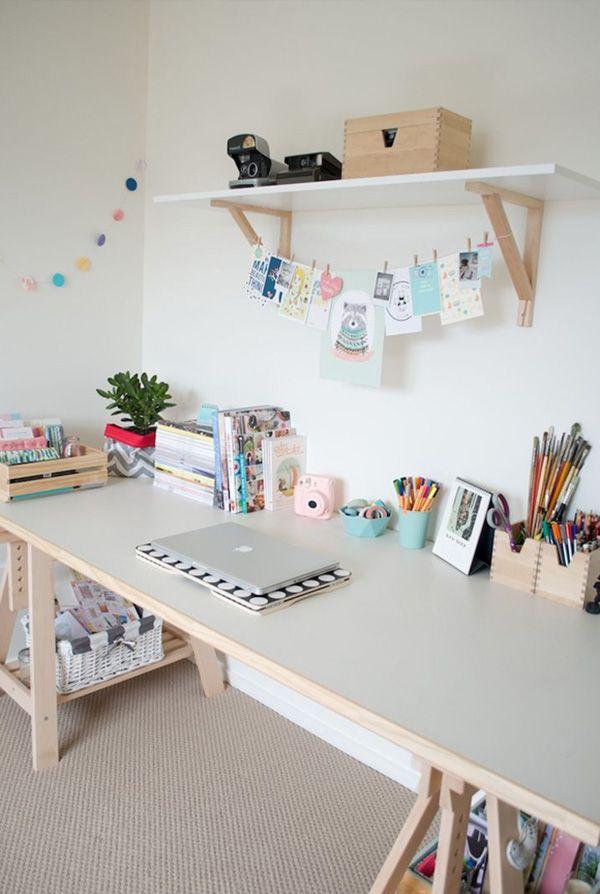 Home office decoration / Pastel tonlarda çalışma odası dekorasyon fikirleri