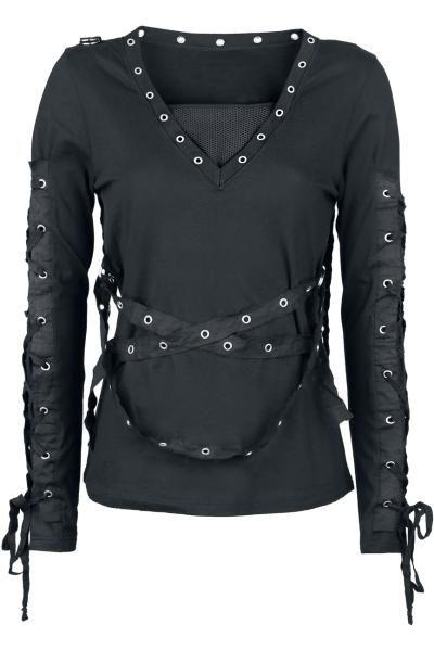 """Maglia da donna """"Strapped Longsleeve"""" della collezione #Gothicana in stile Vintage con lacci intrecciati sulle maniche, fasce con occhielli removibili e inserti in tessuto a rete sullo scollo."""