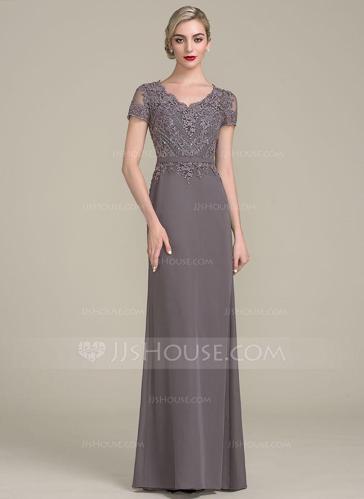 Vestidos princesa/ Formato A Decote V Longos Tecido de seda Renda Vestido para a mãe da noiva com Beading lantejoulas (008102694)