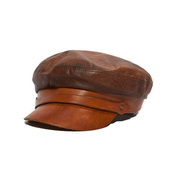 Vintage All Leather Biker Newsboy Hat Cabby Cap by Henschel Hat Company Size Extra Large
