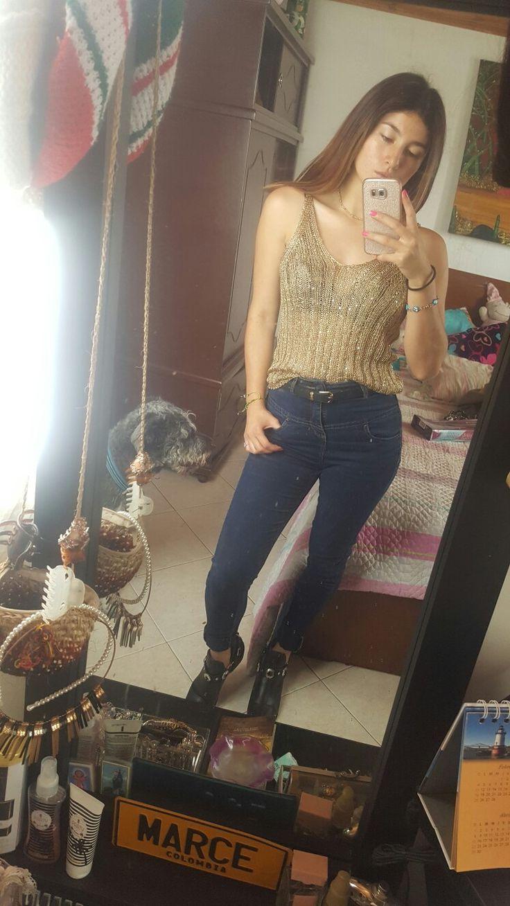 #Gold #Fresco #Outfit #Dorado #botines