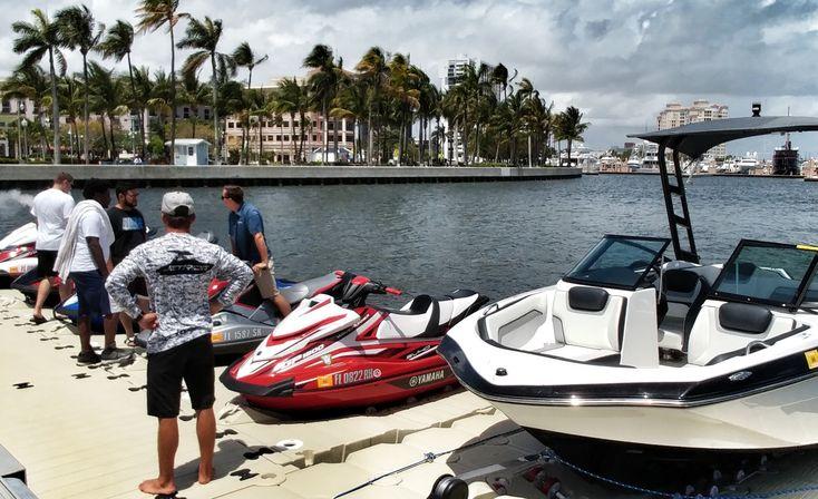 Jet Ride setting up their jetski membership program on the waterfront #ilovewpb