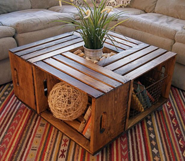 How to make a coffee table from wine crates - these are stained, but they can be left rough, or painted.