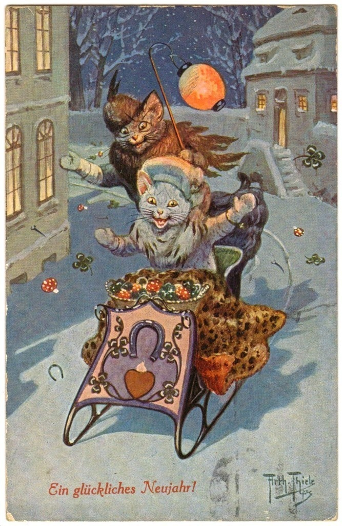 Postcard Thiele Cats Sledding at Night New Year T s N Series