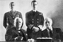 President Franklin Delano Roosevelt, Sir Winston Churchill, Baron Hastings Ismay, Mountbatten: January 1943 in Casablanca.