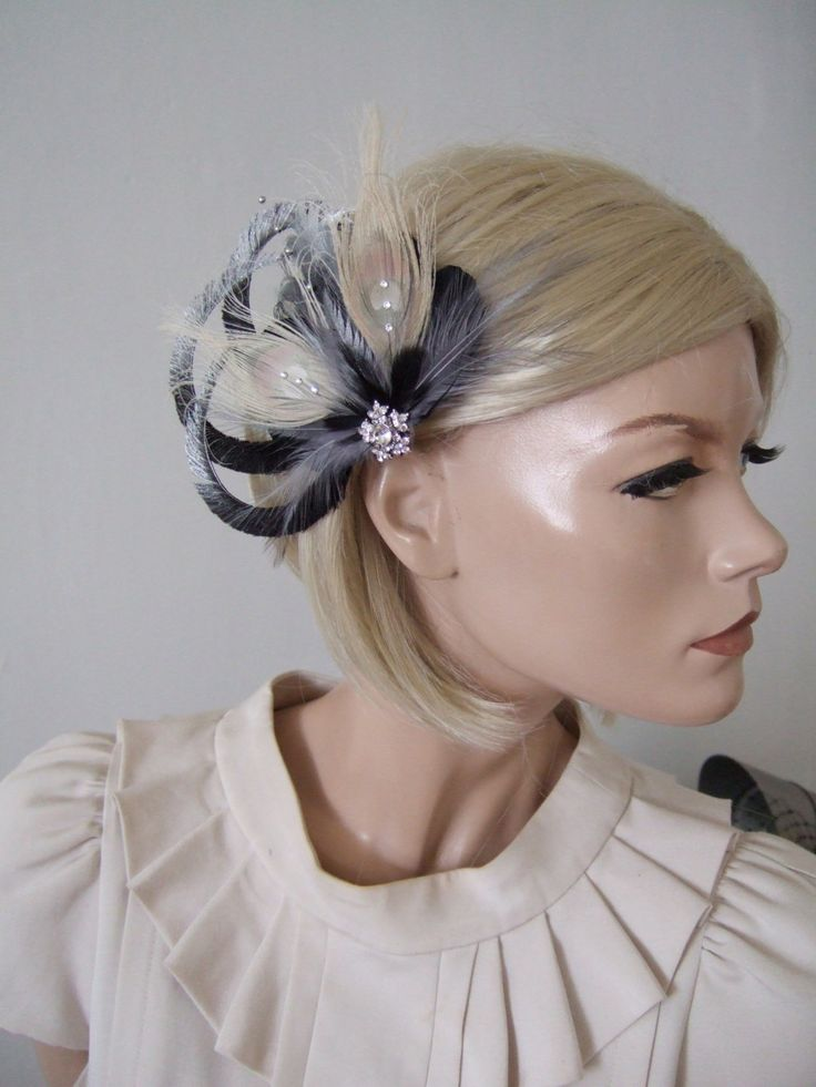 Black Silver Cream Fascinator With Ostrich Pea Feathers Clip Arlene Prom Bridesmaids Bridal Party Mother Of The Bride Winter Wedding