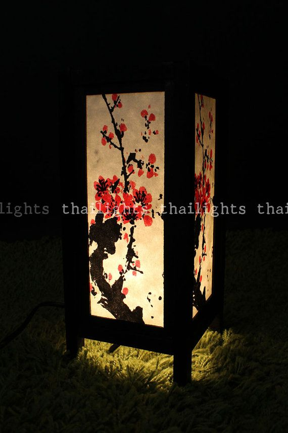 Table Asian Lamp White Mulberry Paper Japanese Sakura Painting With Wooden Lamp Frame - Furniture Home Decor