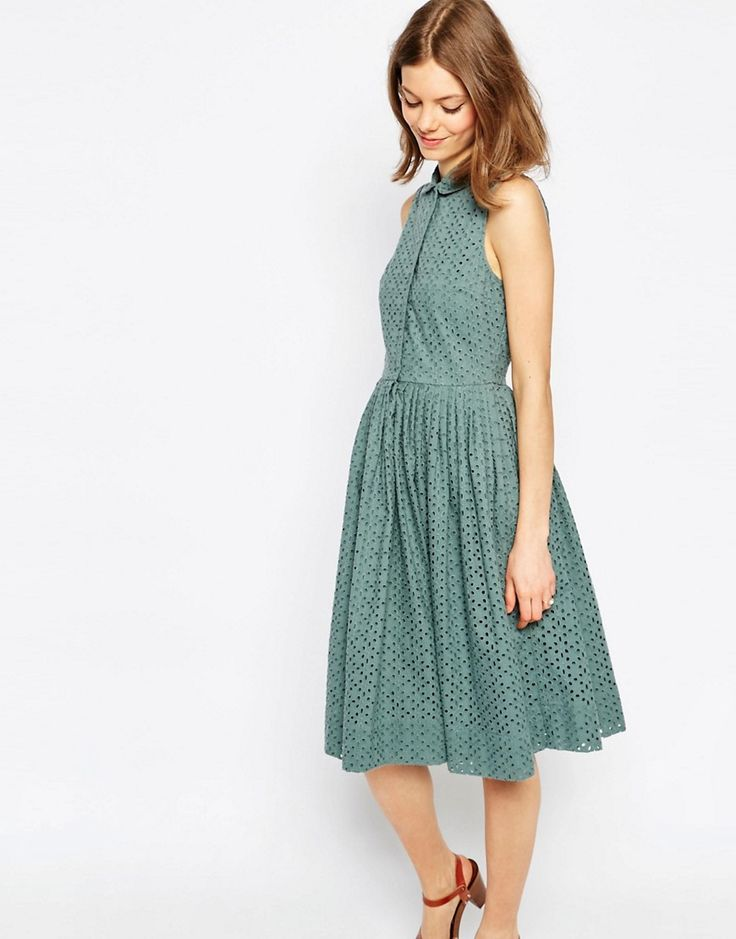 Image 1 - ASOS - Robe chemise mi-longue en broderie anglaise