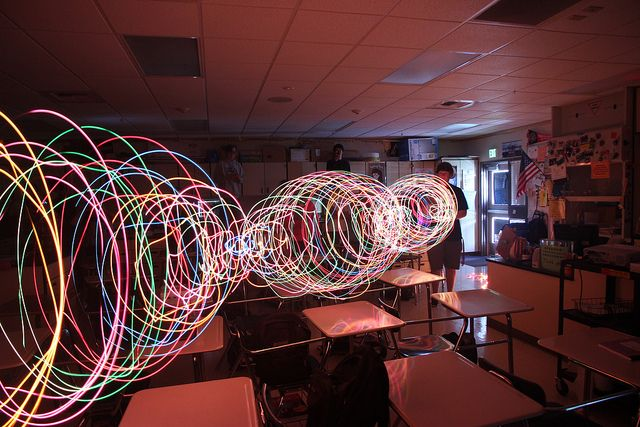 I black out my classroom and make standing waves using old Christmas lights.