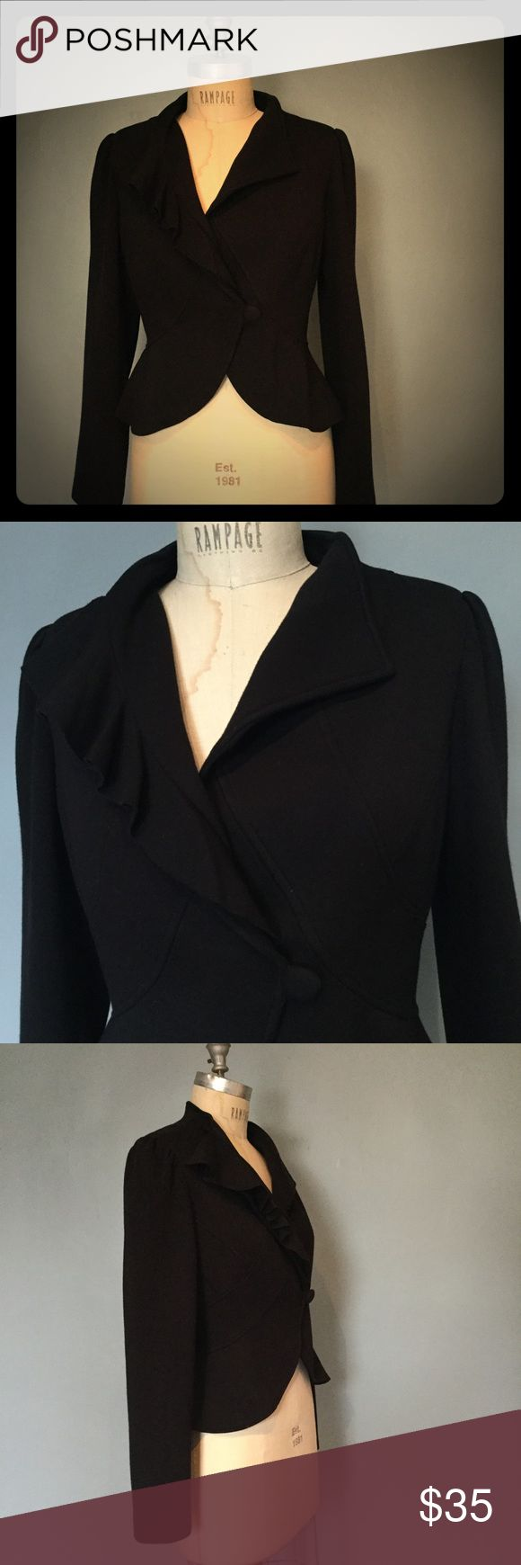 Black blazer with ruffle detail I.N.C. Modern vintage inspired blazer  with a wrap front, ruffled collar & slight peplum detail. Sophisticated & feminine. I've paired this with skirts, trousers, & denim. Beautiful silhouette! INC International Concepts Jackets & Coats Blazers
