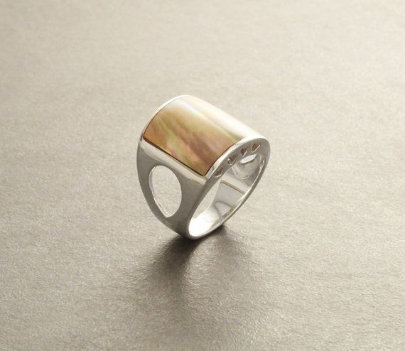 Boho Silver Ring  Sterling Silver  Copper Mother of by KRAMIKE
