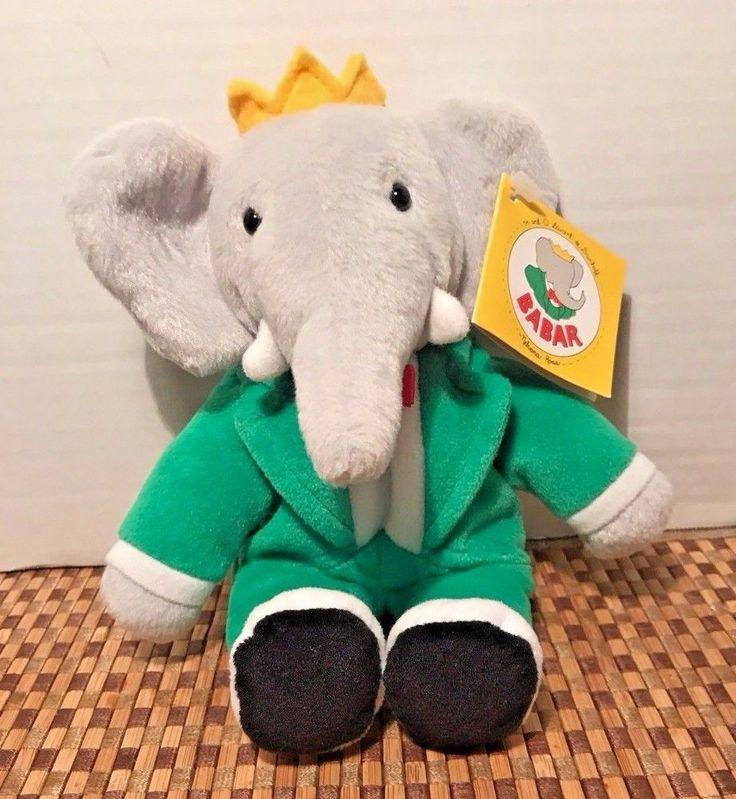 "Gund Babar Elephant Green Suit Plush Bean Bag Stuffed Doll Toy 8"" New #GUND"