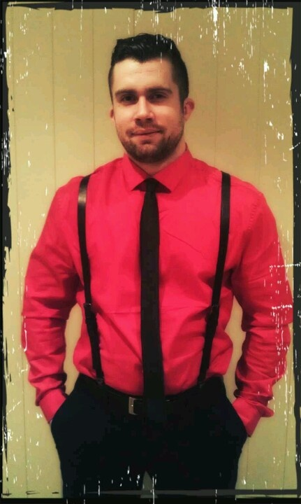 red button up shirt leather suspenders and thin black tie