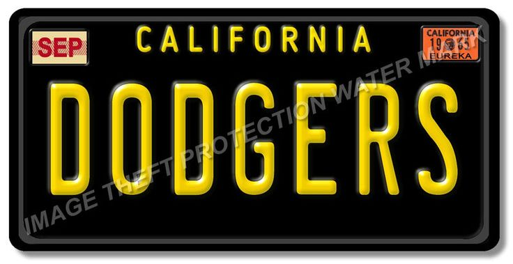 Los Angeles California DODGERS Baseball Team Aluminum Vanity License Plate New