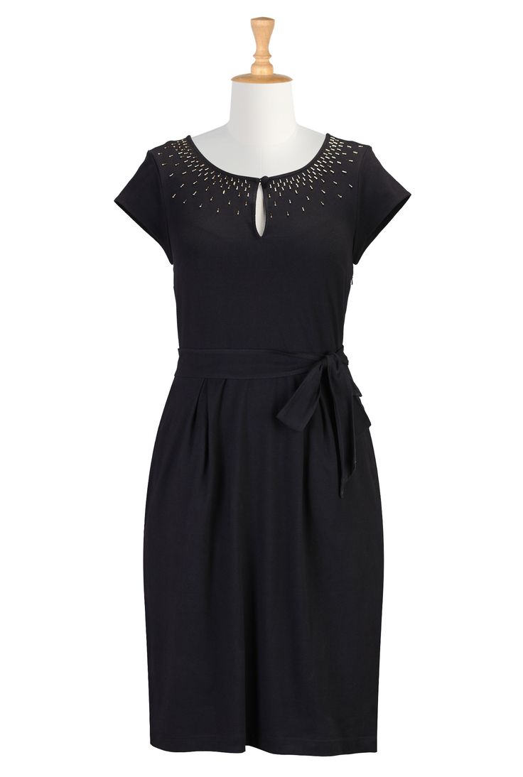 Love the beaded neckline on this LBD