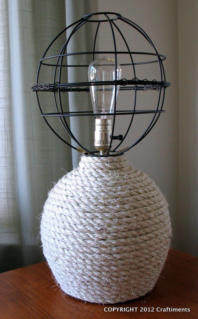 Nautical Rope Lamp - Sisal rope base: Diy Home Decor, Decor Ideas, Dollar Stores, Craftiment Com, Ropes Lamps, Globes Shades, Nautical Ropes, Hanging Baskets, Openwork Globes