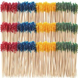 """Sandwich Frill Picks by AMSCAN at Let's Party with Balloons 4"""" (10.16cm). Great for sandwiches, meatballs or any cocktail foods. Assorted Colours. Each package includes picks in blue, red, yellow and green."""