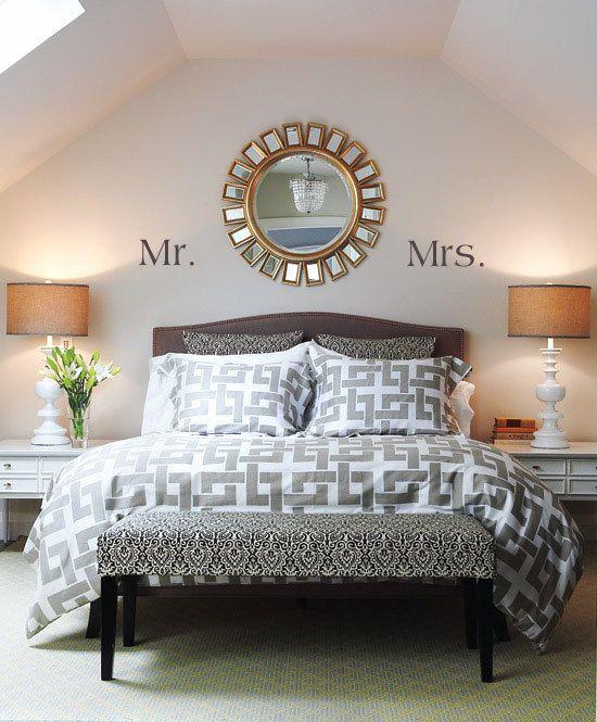 Delightful Newlywed Mr. U0026 Mrs. Vinyl Wall Decal For Bedroom
