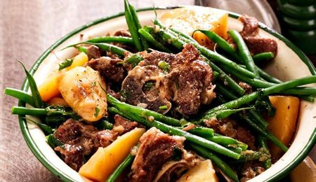Green bean bredie #recipe. Traditionally the meat for this dish isn't browned, but doing so adds colour and flavour.