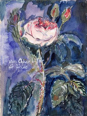 From Oscar Wilde, 1974, by Anselm Kiefer (German, born 1945).  Watercolor and gouache on paper.