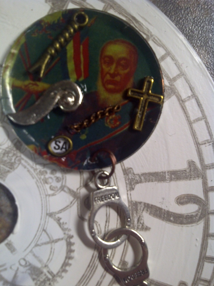 Upcycled pendant by Caren. A bit of Afrikaans history or satire in here?...you decide. A picture of president Paul Kruger of way back.
