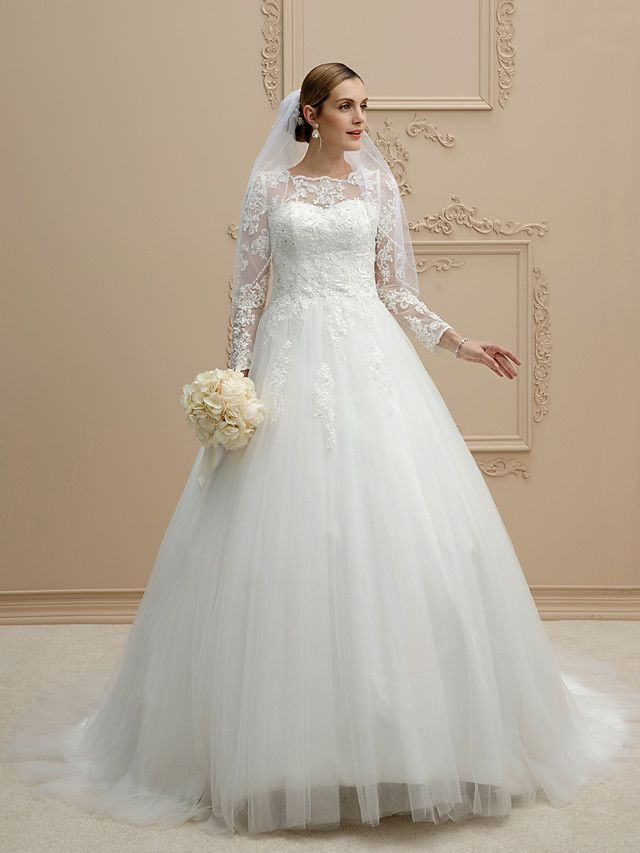 c6306d71bdfe 229 99 Ball Gown Jewel Neck Chapel Train Lace Over Tulle Made To Measure  Wedding Dresses