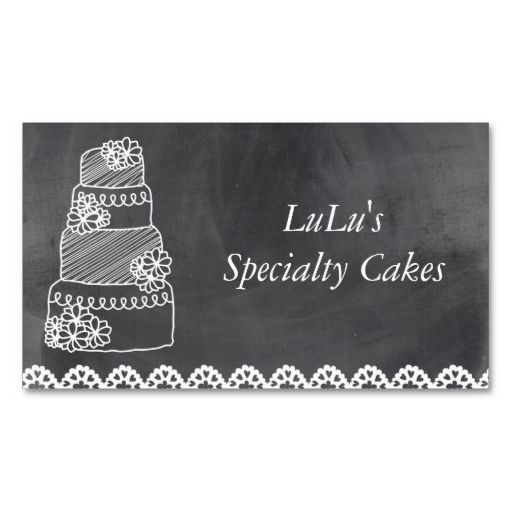 Chalkboard Bakery Business Card with Cake. I love this design! It is available for customization or ready to buy as is. All you need is to add your business info to this template then place the order. It will ship within 24 hours. Just click the image to make your own!