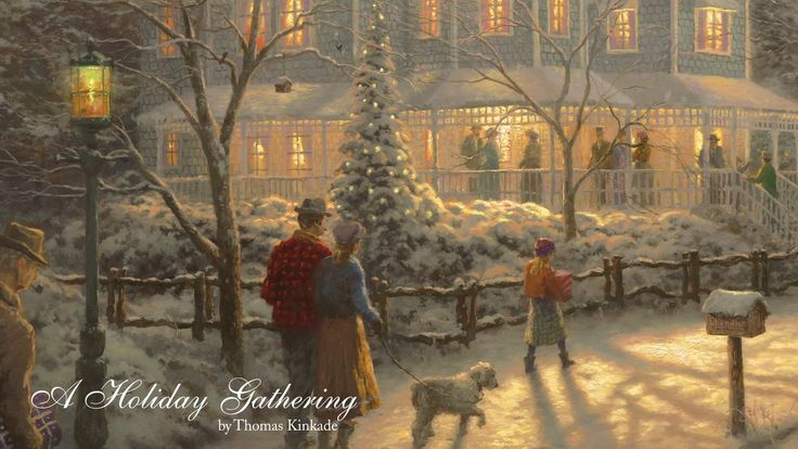 """A Holiday Gathering Its time for a little holiday cheer! We present """"A Holiday Gathering"""" painted in 1998, -an all time favorite this time of year!   Thom wrote: """"Of all the holiday rituals, the one I prize the most is the coming together of loved ones in shared celebration. Even if our family circle is small, the Christmas season can become a benchmark of friendship; a time when we pause to savor traditions of comfort and joy."""""""