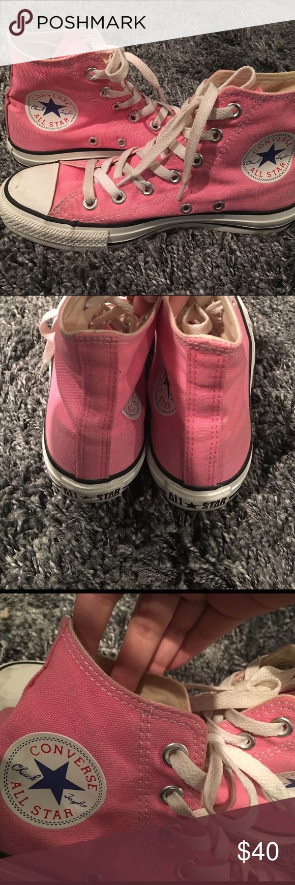 Pink High Top Converse Worn once or twice, amazing condition, will clean any markings, if any, before shipping(: Converse Shoes Sneakers