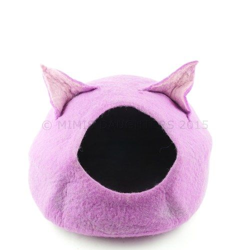 Cat Bed, Cat Cave, Pet Bed, Cat Igloo, Cat House Handmade Wool Felt Cat Home - Purple2-Ears