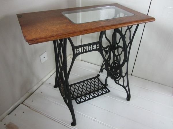 Vintage Singer Sewing Machine Table Base With Custom Made Gl Top
