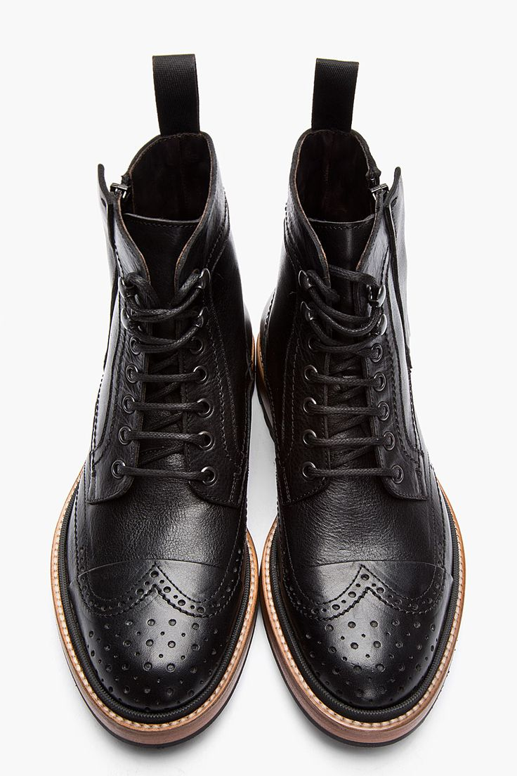 lanvin black leather brogue boots s fashion