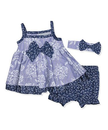 Another great find on #zulily! Blue Floral Bow-Accent Dress Set - Infant #zulilyfinds