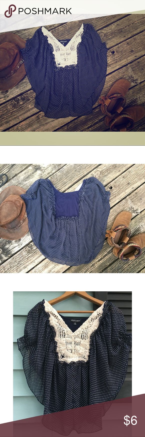 Polka dot batwing style shirt 💙 crotchet lace This top looks really cute on. A dark blue layer underneath the polkadot fabric. Fun to wear. Has a small hole in the back- see last photo👆🏾 About A Girl Tops Blouses