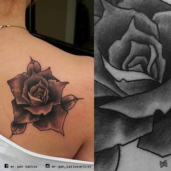#rosetattoo #rosa #blackandgraytattoo #tattooed #tattoo #ink #inked #tattooedgirlsdoitbetter #tattooedgirls #ntgallery #tattooartist #mrgan