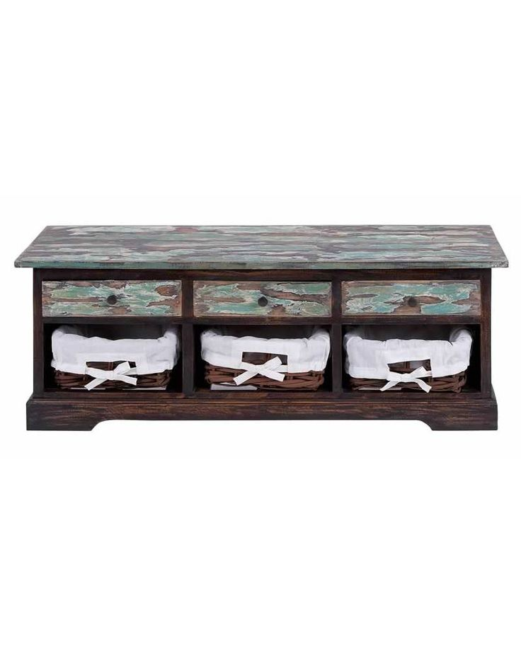 Patina Green Wooden Foyer Storage Bench with Drawers and Baskets - Designed for…