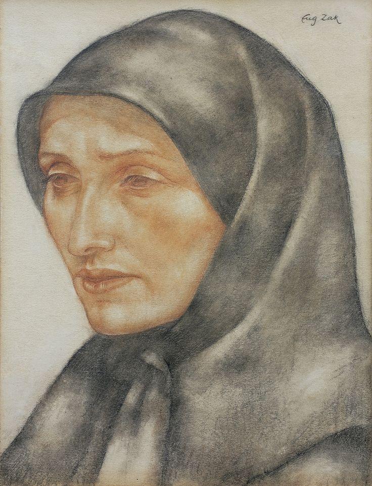 Eugeniusz Zak: Głowa mniszki, ok. 1913 r., techn. mieszana, 31 x 23,5 cm