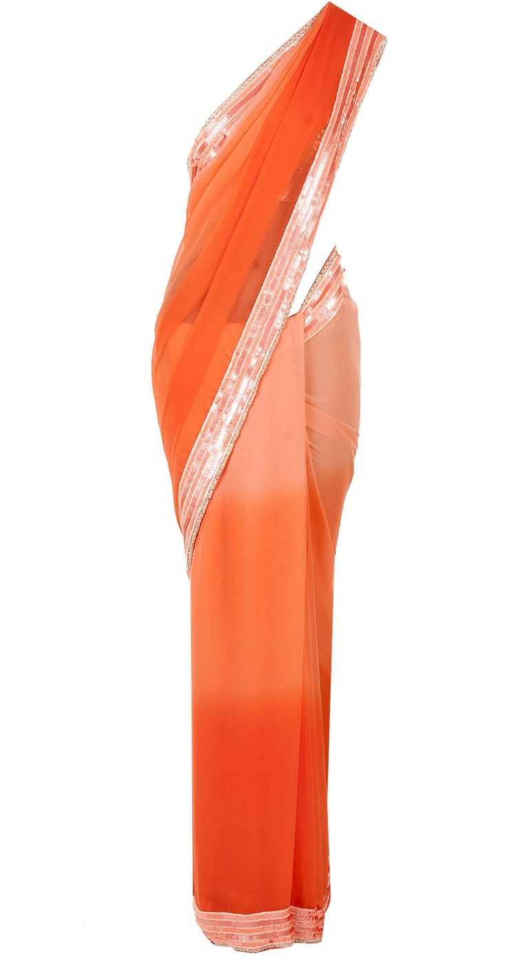 Peach ombre sari with embroidered blouse by ATSU. Shop now at perniaspopupshop.com